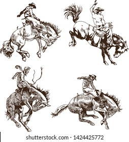 vector image of a cowboy on a wild horse mustang decorating it at a rodeo in the style of art sketches
