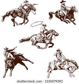 vector image of a cowboy on a wild mustang horse decorating him at a rodeo in the style of artistic sketches