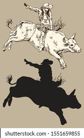 vector image of a cowboy on a wild bull kicking at a rodeo show