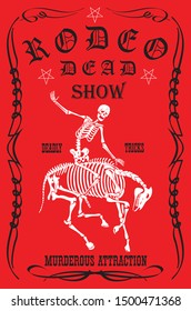 vector image of cowboy skeleton on horse skeleton in rodeo poster style cartoon graphics