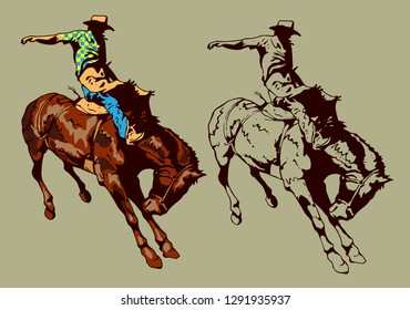 vector image of a cowboy taming wild horse at a rodeo