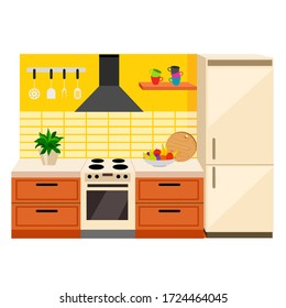 Vector image of a cozy kitchen in a flat stele on a white background. Isolated kitchen furniture and refrigerator. On the countertop there is a vase of fruit, a cutting board, a flower in a pot.