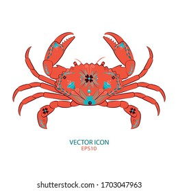 Vector image of a crab. vector crab silhouette. vector illustration