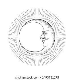 Vector image of a crescent moon. Moon face. Illustration in the engraving style.