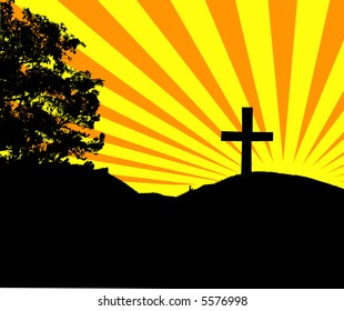 Vector image of cross on hill