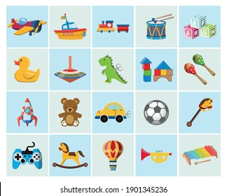 Vector image. Cute vector objects of kids toys. Funny images.