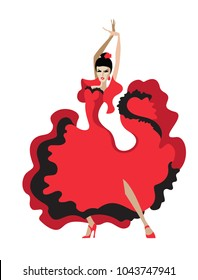 Vector image of a dancer Latin dance in a red dress