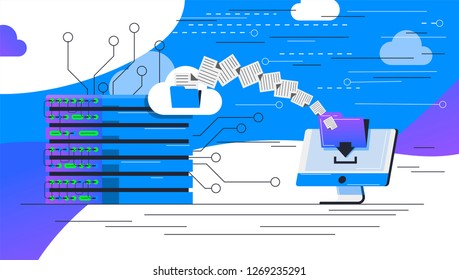 vector image of data center, server transferring files and documents to a personal computer, data transfer technology