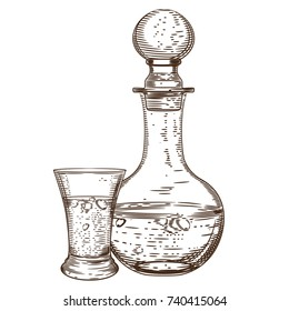 Vector image of a decanter of vodka and a glass of vodka. Alcoholic beverages.
