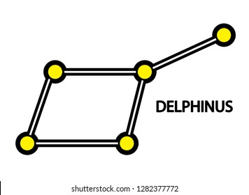 Vector image of Delphinus Constellation - close to the celestial equator. Its name is Latin for dolphin. Delphinus was one of the 48 constellations listed by the 2nd century astronomer Ptolemy.