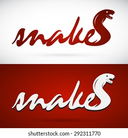 Vector image of an design snake is text, logo, symbol, icon, graphic, vector