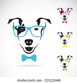 Vector image of a dog (Bull terrier) glasses on white background. Fashion