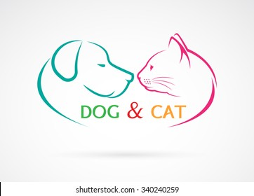 Vector image of an dog and cat on a white background
