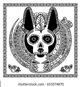 Vector image of a dog in ethnic style. Mexican dog and Mexican skull
