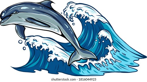 Vector image of dolphins jumping out of water