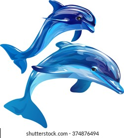 Vector image of dolphins jumping out of the water on a white background