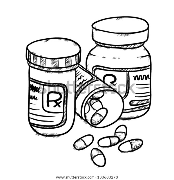 vector image of drug bottles and drug pills, capsules, drawing style