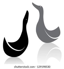Vector image of ducks on white background