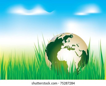 Vector Image. Earth globe in green grass