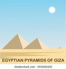 Vector image Egyptian pyramids of Giza
