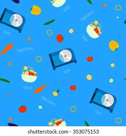 Vector image of electric slicers and vegetables. Seamless pattern.