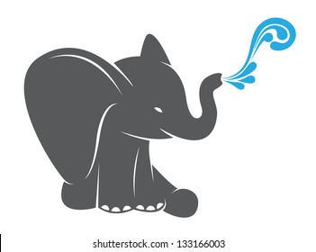 Vector image of an elephant spraying water on a white background