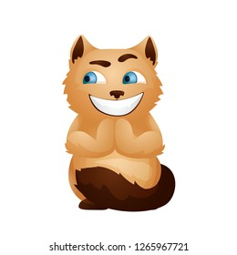 Vector image. Emotion icon. Cartoon character home pet. Sly cat smiles broadly.