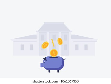 Vector image of etherium falling into the piggy bank. wiyh bank building on background Flat style vector illustration