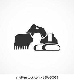 Vector image of excavator icon.