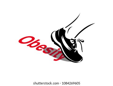 """Vector image of exercise with relation to obesity - a sport shoe pushing off the word """"Obesity"""""""