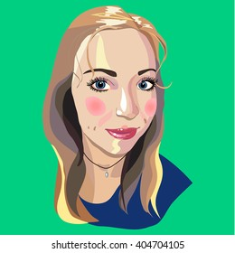 Vector image of face of the beautiful blonde girl with Vector illustration