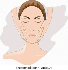 Vector image of the face beautiful girl, she makes a facial massage.