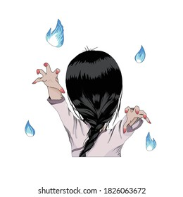 Vector image of a faceless ghost girl rising her hands with will-o'-the-wisp around her. Hand drawn comic style.