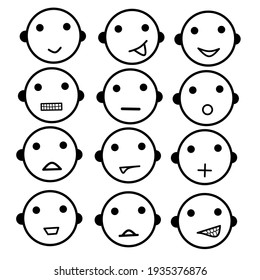 vector image of facial expressions that can be used as icons, symbols, and send messages