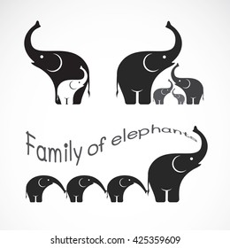 Vector image of family elephants on white background, Wild Animals, Vector illustration. elephants icon.
