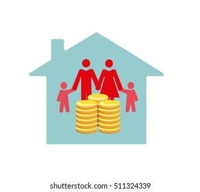 Vector image of a family in a house with money