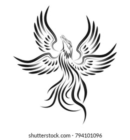The vector image of a fantastic being - a phoenix with open wings. Tribal black tattoo.Vector illustration.