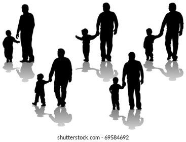 Vector image of father and son. Silhouettes on white background