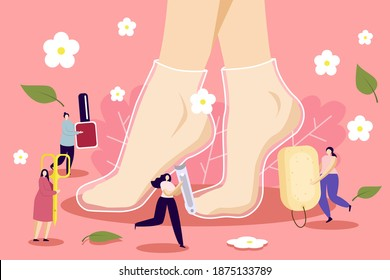 Vector image of feet in a foot mask with little people carrying foot care products, heel scraper, scissors, nail polish. Foot care and foot masks concept.