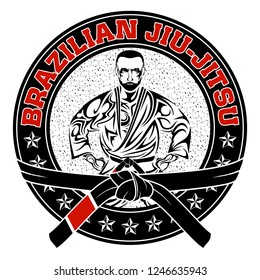 Vector image of the fighter of the Brazilian jiu-jitsu. Red belt. Grandmaster. MMA. Octagon. Illustrations for t shirt print. Grunge print. Champion of combat. Vector color.