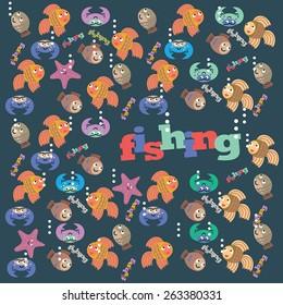 vector image of the fish, fishing, sea animals