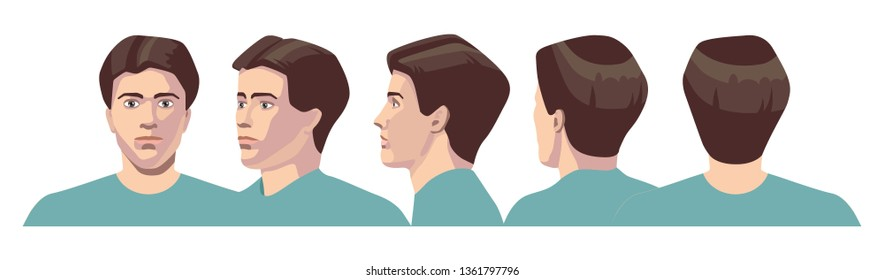 vector image of five angles and turns of a male head with hair, frontal feed, profile, three-quarter turn of the face in   five turns