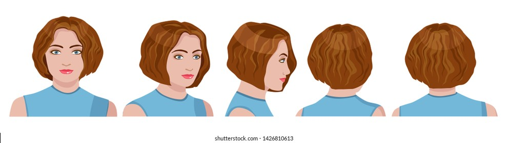 vector image of five angles and turns of a female head with hair, frontal feed, profile, three-quarter turn of the face in five turns