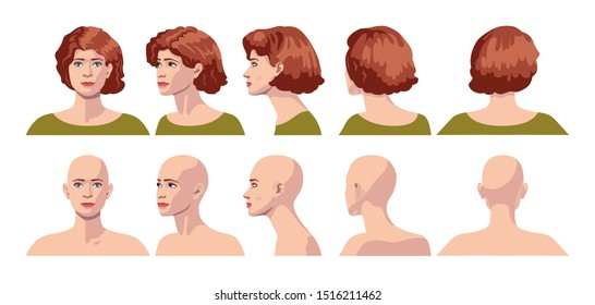 vector image of five angles and turns of a female head with curly hair and bald, frontal feed, profile, three-quarter turn of the face in five turns