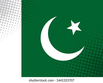 Vector image of the flag of Pakistan with a dot texture in the style of comics.