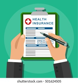Vector image. Flat design. Clipboard in hand. Man with clipboard. Form of health insurance. Healthcare .