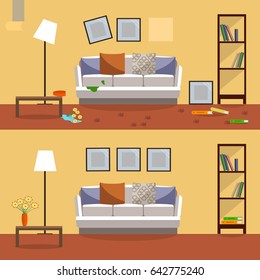 Vector image. Flat design interior. Room before cleaning and after cleaning