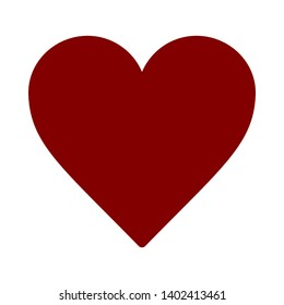 Vector image of a flat red heart icon. Isolated heart on a white background