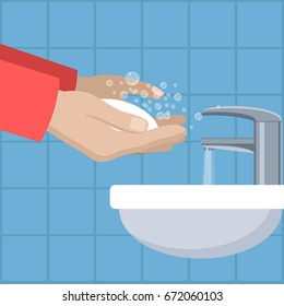 Vector image in flat style. Man wash hands. Man in red holding soap in hand under water