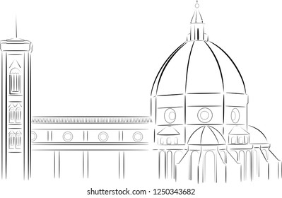 Vector image of Florence Cathedral